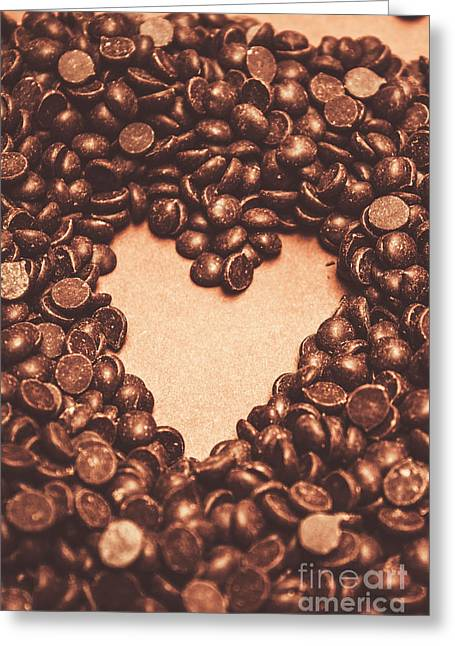 Hearts And Chocolate Drops. Valentines Background Greeting Card