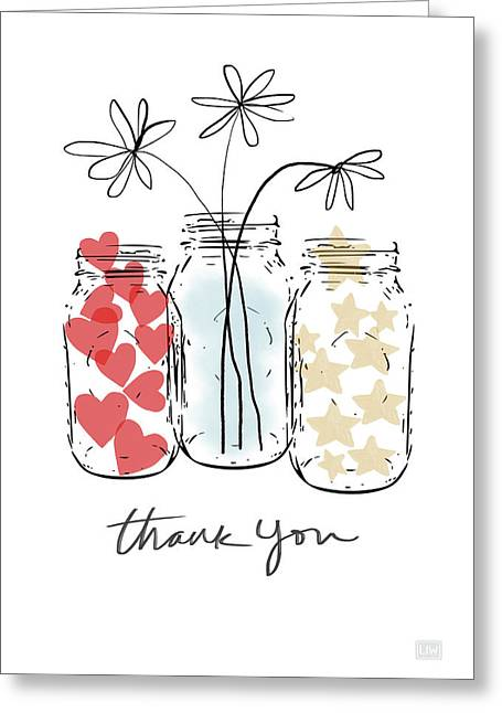 Hearts And Stars Thank You- Art By Linda Woods Greeting Card by Linda Woods