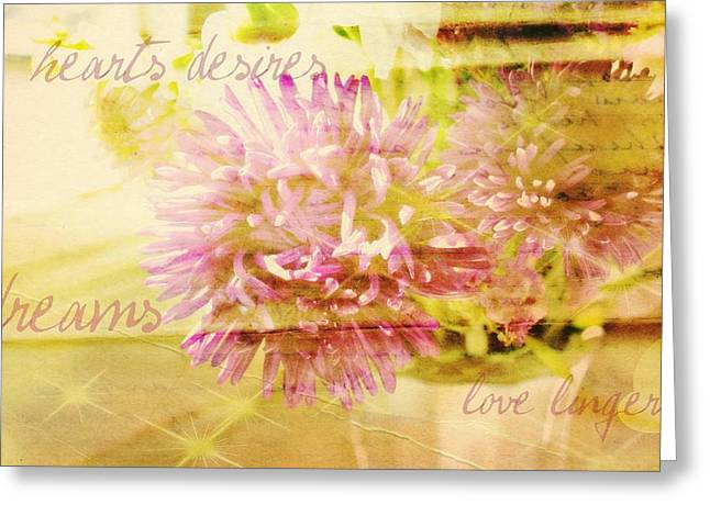 Hearts Desires Love Lingers Greeting Card by Cathie Tyler