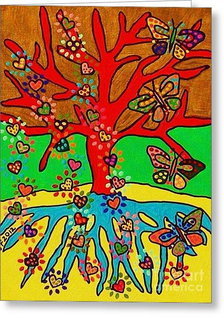 Hearts Grow Into Butterflies Greeting Card by Sandra Silberzweig