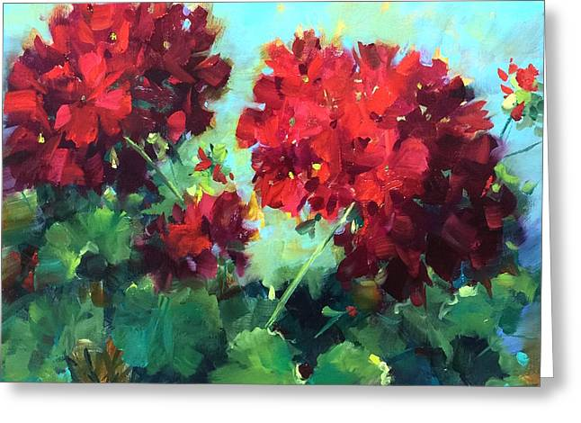 Hearts In Harmony Red Geraniums Greeting Card by Nancy Medina