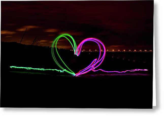 Hearts In The Night Greeting Card