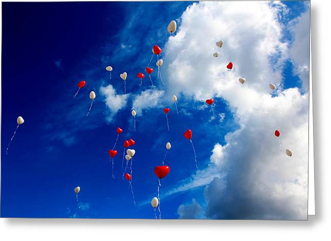Hearts In The Sky Greeting Card by Mountain Dreams