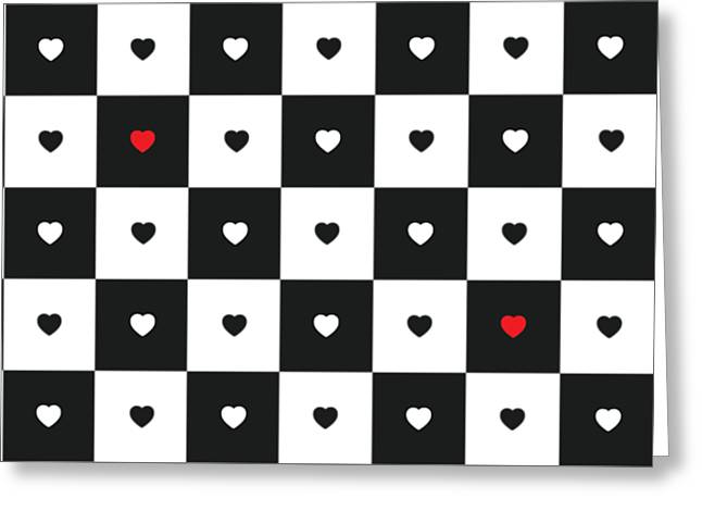 Hearts On Black And White Classic Chessboard Greeting Card