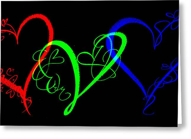 Hearts On Black Greeting Card by Swank Photography