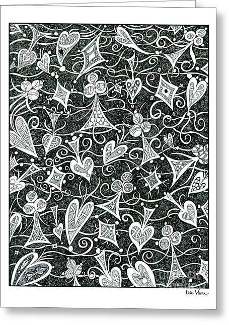 Hearts, Spades, Diamonds And Clubs In Black Greeting Card