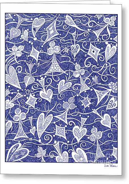 Hearts, Spades, Diamonds And Clubs In Blue Greeting Card