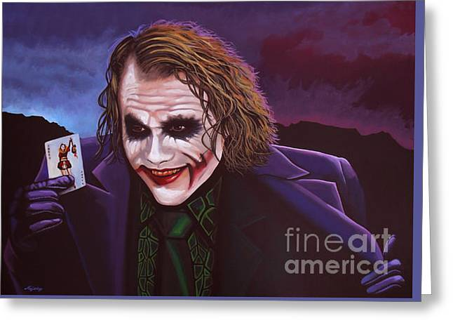 Heath Ledger As The Joker Painting Greeting Card by Paul Meijering