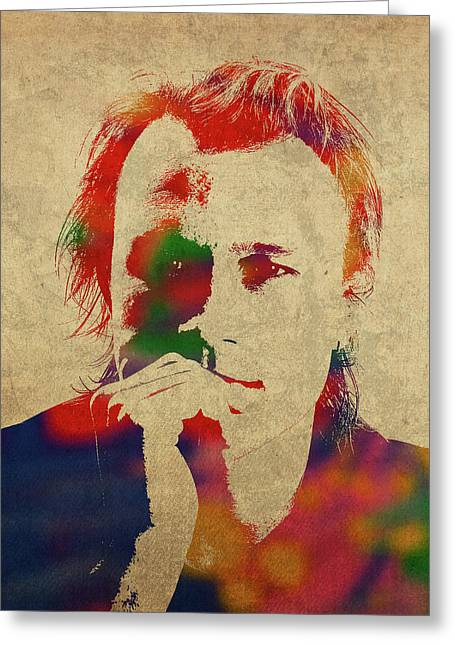 Heath Ledger Watercolor Portrait Greeting Card
