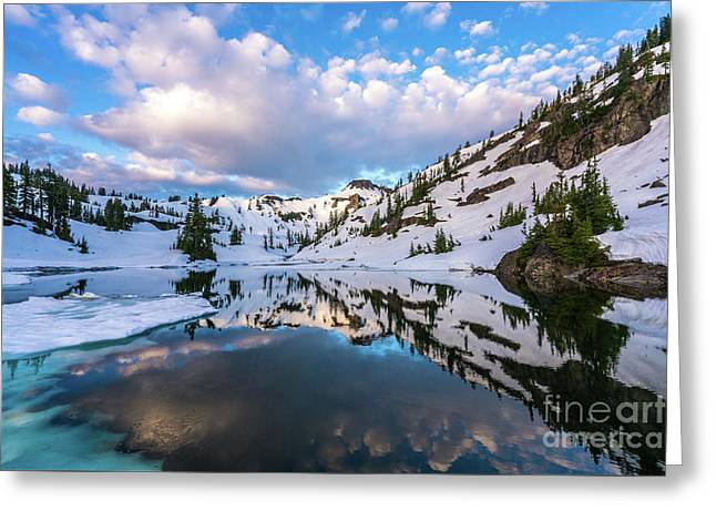 Heather Meadows Blue Ice Reflection Cloudscape Greeting Card