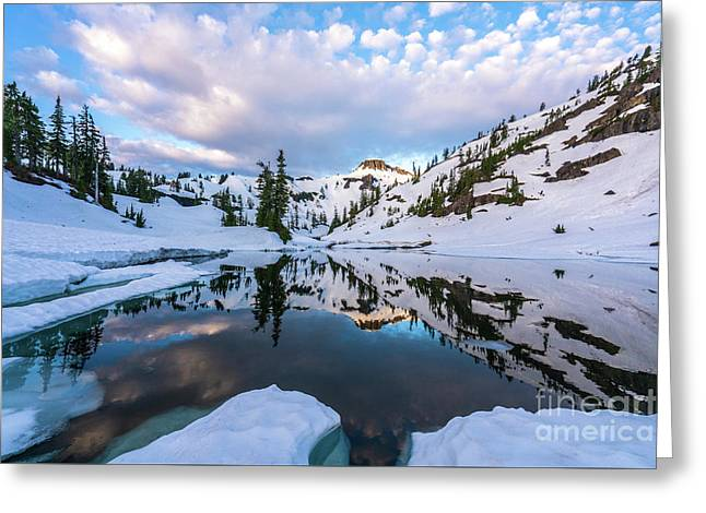 Heather Meadows Reflection Cloudscape Greeting Card by Mike Reid