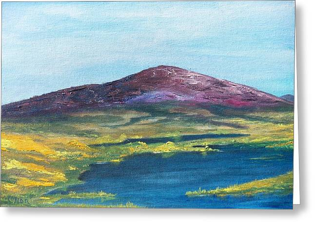 Greeting Card featuring the painting Heather Mountain by Conor Murphy