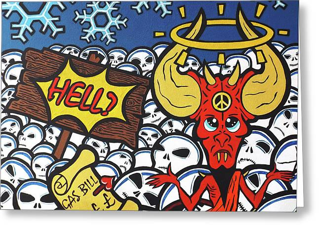 Heaven And Hell Part 2 - Hell? Greeting Card by Simon Moulding
