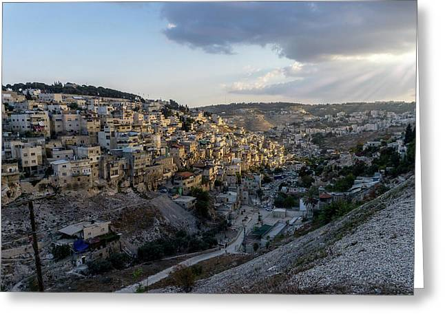Heaven Shines On The City Of David Greeting Card