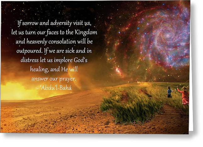 Heavenly Consolation Greeting Card by Baha'i Writings As Art
