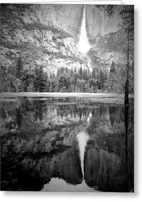 Heavenly Reflections At Yosemite B And W Greeting Card