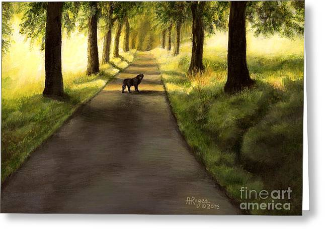 Serenity - Walk With Black Labrador Greeting Card