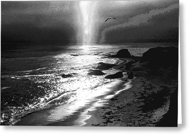 Heavens Light Black And White Greeting Card