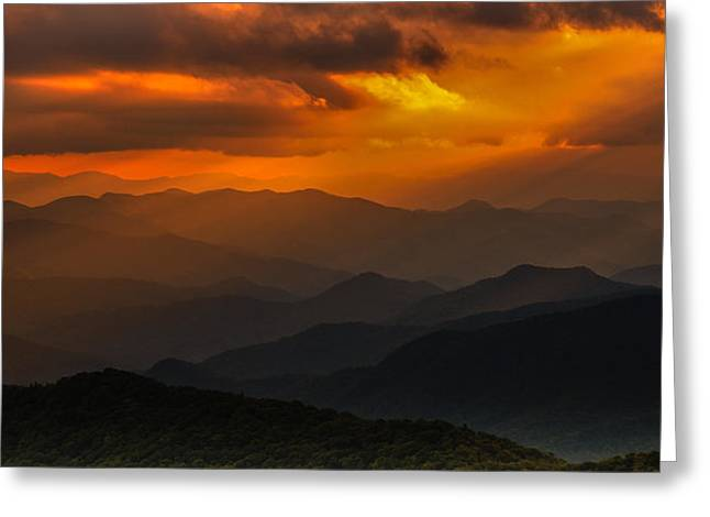 Heaven's Light On The Blue Ridge Parkway Greeting Card
