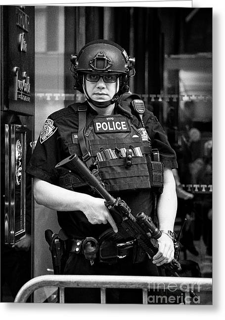 heavily armed nypd protective security detail outside trump tower manhattan New York City USA Greeting Card