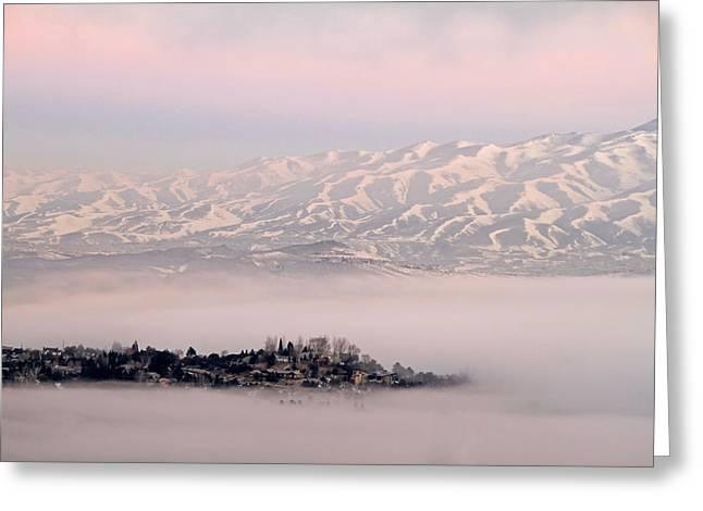 Heavy Fog At Sunrise Greeting Card