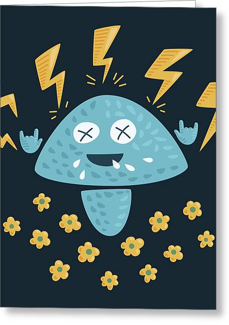 Heavy Metal Mushroom Greeting Card