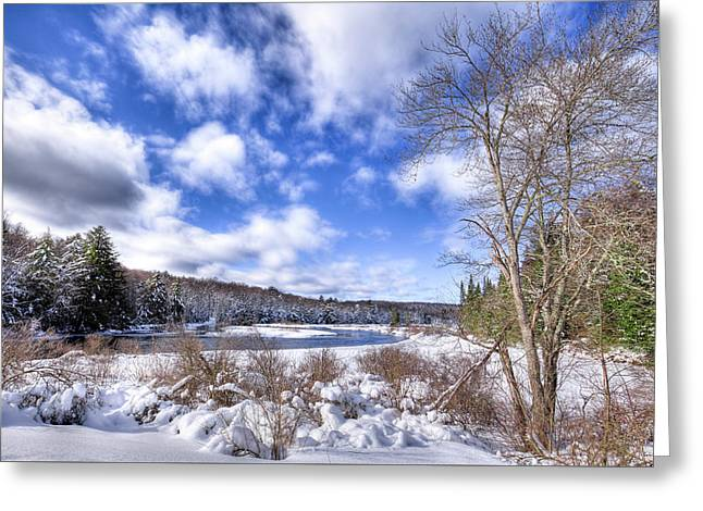 Greeting Card featuring the photograph Heavy Snow At The Green Bridge by David Patterson