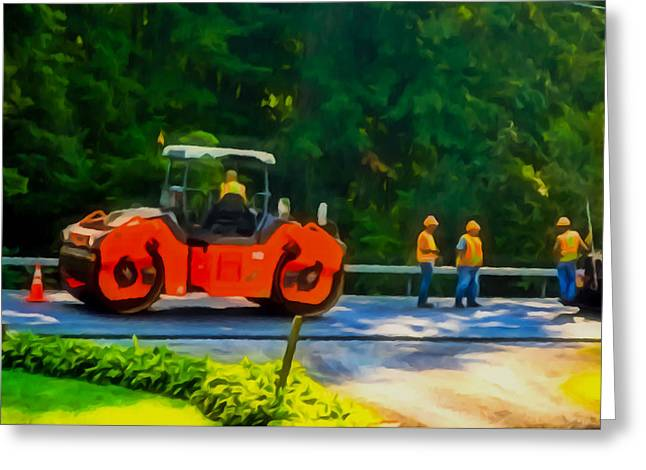 Heavy Tandem Vibration Roller Compactor At Asphalt Pavement Works For Road Repairing 2 Greeting Card