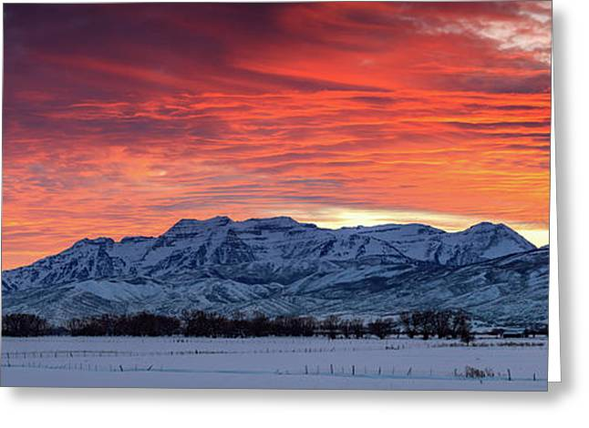 Greeting Card featuring the photograph Heber Valley Panoramic Winter Sunset. by Johnny Adolphson