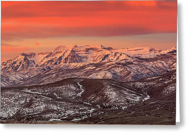 Heber Valley Sunrise Panorama. Greeting Card