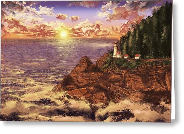 Heceta Head Light Greeting Card by Bekim Art