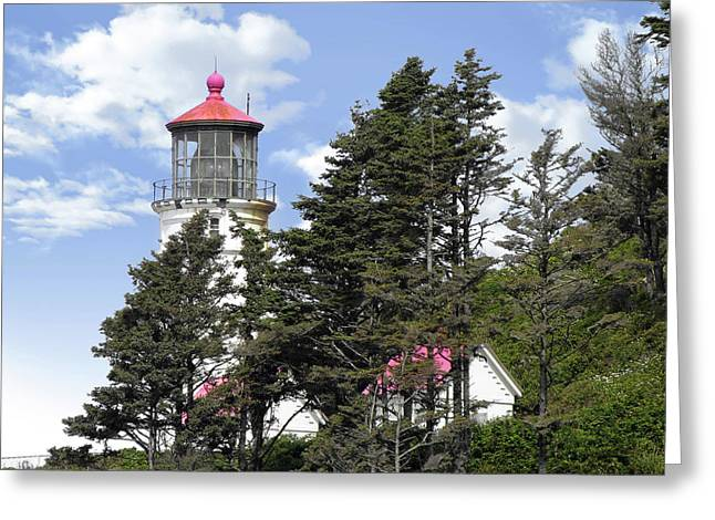 Peninsula Greeting Cards - Heceta Head Lighthouse - Oregons iconic Pacific Coast Light Greeting Card by Christine Till