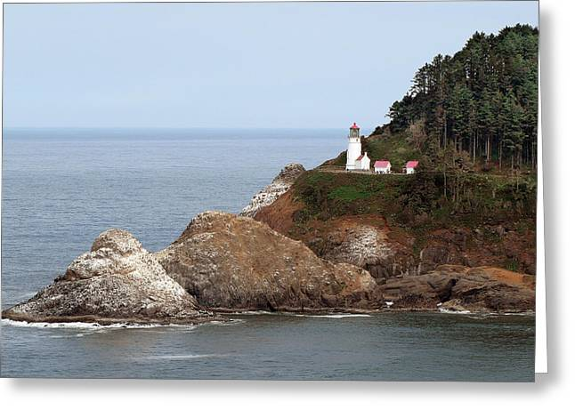 Seascapes Greeting Cards - Heceta Head Lighthouse - Oregons Scenic Pacific Coast Viewpoint Greeting Card by Christine Till