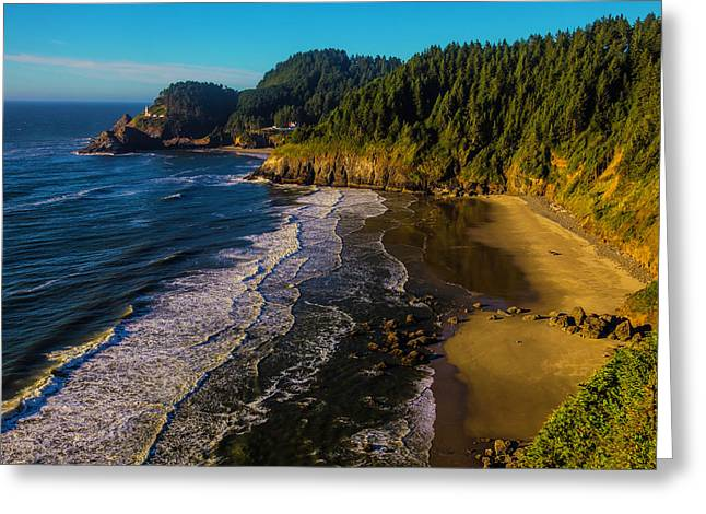 Heceta Head Lighthouse And Beaches Greeting Card by Garry Gay