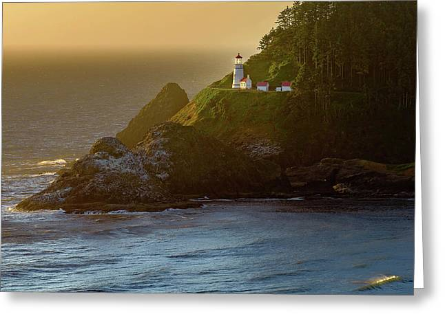 Greeting Card featuring the photograph Heceta Head Lighthouse At Sunset by John Hight