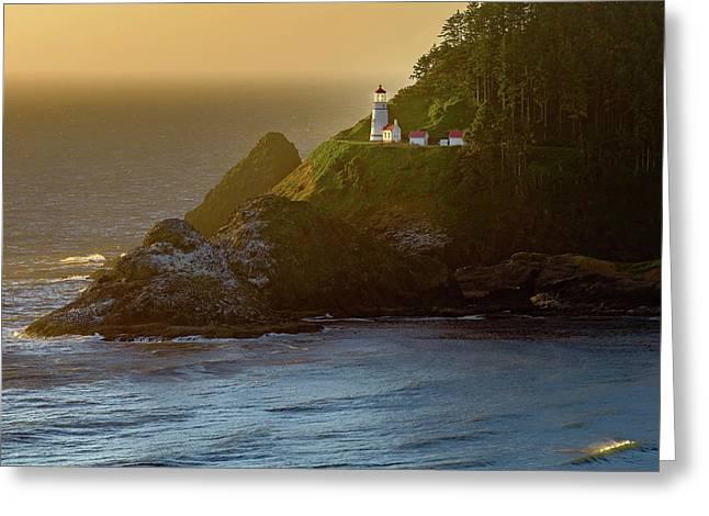 Heceta Head Lighthouse At Sunset Greeting Card