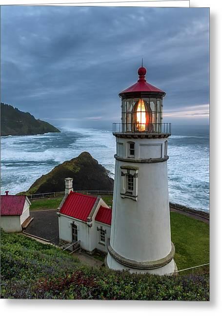 Heceta Head Lighthouse Evening Greeting Card