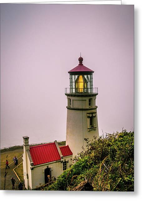 Heceta Head Lighthouse In The Fog Greeting Card