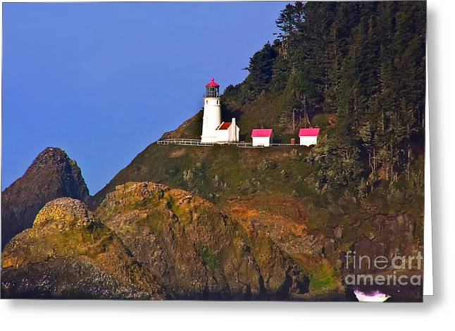 Heceta Head Lighthouse Greeting Card by Rick Mann