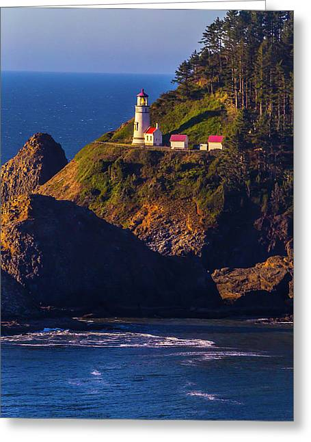 Heceta Head Oregon Lighthouse Greeting Card by Garry Gay