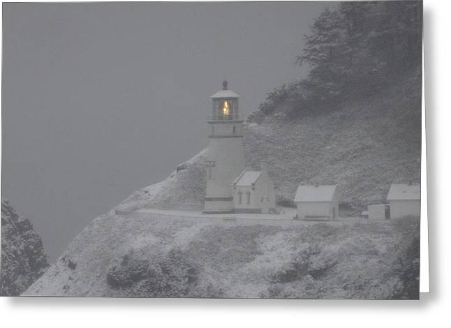 Heceta Lighthouse Snowstorm Greeting Card by Kenny Henson