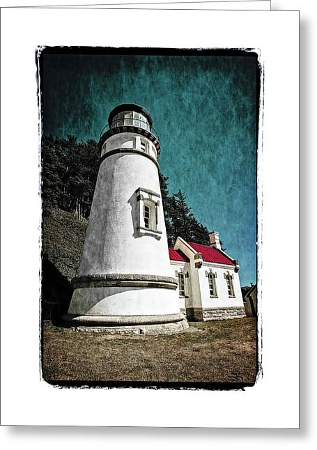 Greeting Card featuring the photograph Hecitia Head Lighthouse by Jeffrey Jensen