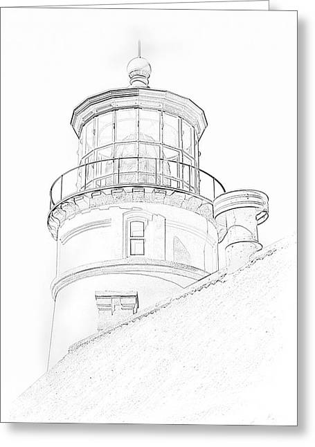 Greeting Card featuring the photograph Hecitia Head Lighthouse Sketch by Jeffrey Jensen