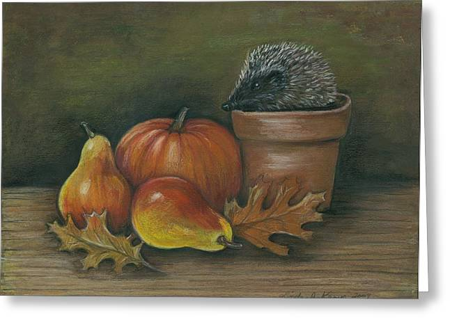 Hedgehog In Flower Pot Greeting Card