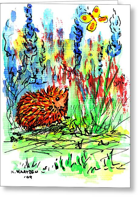 Hedgehog In The Delphiniums Greeting Card by Kerry Hartjen