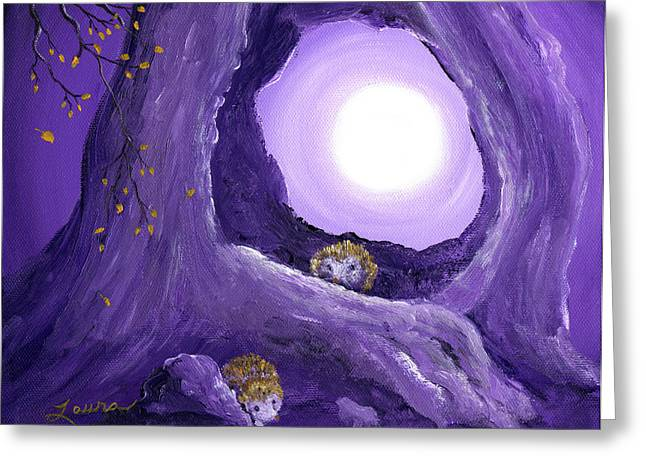 Hedgehogs In Purple Moonlight Greeting Card by Laura Iverson