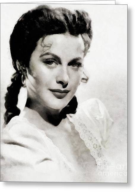 Hedy Lamarr, Actress By Js Greeting Card