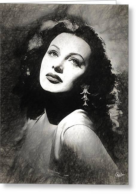 Hedy Lamarr Draw Greeting Card by Quim Abella