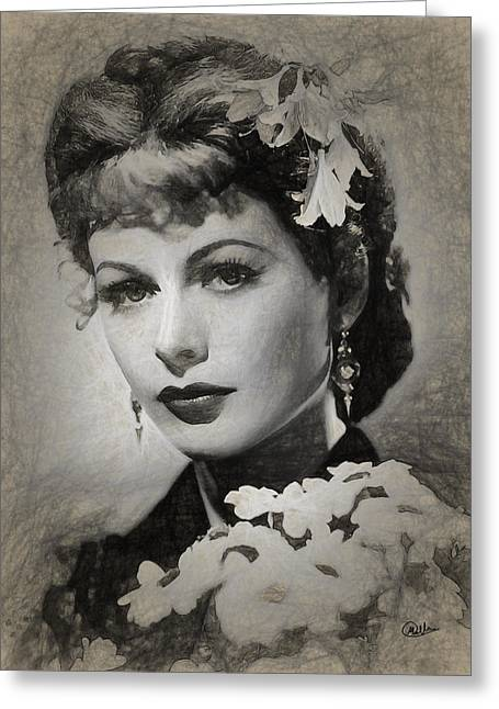 Hedy Lamarr Drawing Greeting Card by Quim Abella