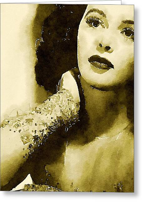 Hedy Lamarr Hollywood Star By John Springfield Greeting Card by John Springfield